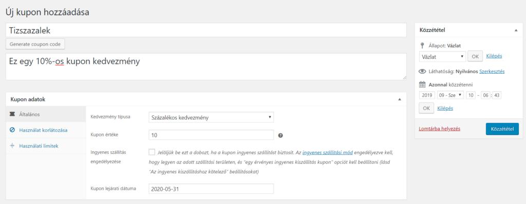 A kupon létrehozása közben több beállításra is van lehetőséged:
